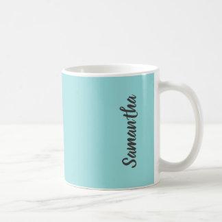 Taza De Café Color sólido del verde de la aguamarina de Shell