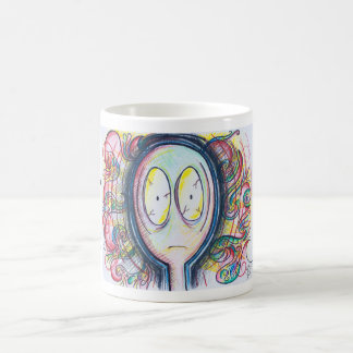 Taza de café colorida del #freakingout del