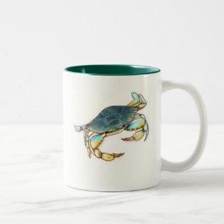 taza de café con el cangrejo azul
