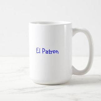 """taza de café con el """"patrón del EL """""""