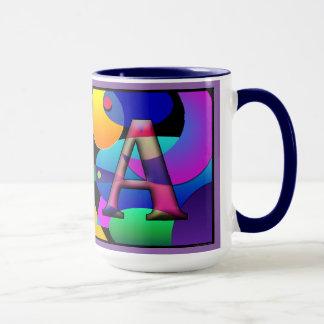 "Taza de café con monograma de ""V"" y de ""A"""