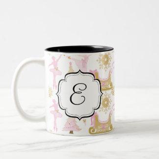 Taza de café con monograma del té del ballet de la