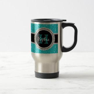 Taza de café con monograma del viaje del brillo