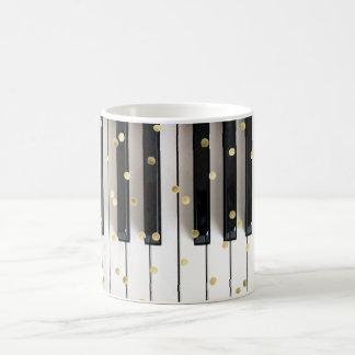 Taza De Café confeti de la hoja de oro del piano