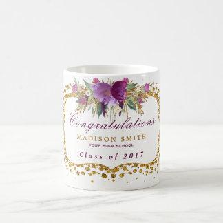 Taza De Café Confeti del oro de la flor del brillo de la
