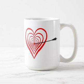 Taza De Café Corazón blanco con flecha