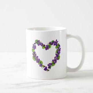 Taza De Café Corazón de violetas