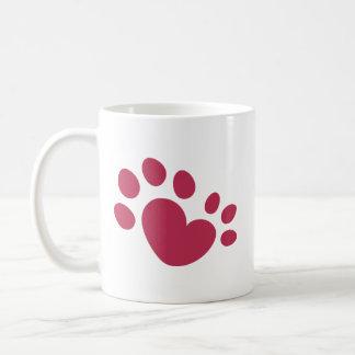 Taza De Café Corazón polidáctilo de la impresión de la pata del