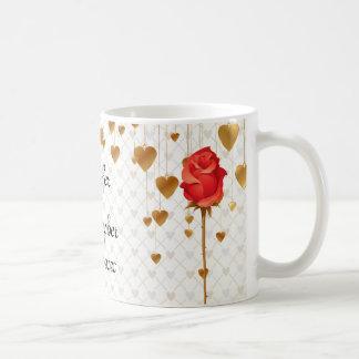 Taza De Café Corazones de oro del amor y boda color de rosa