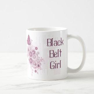 Taza De Café Correa negra rosada abstracta de los artes