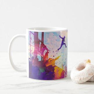 Taza de café corriente libre urbana de Parkour