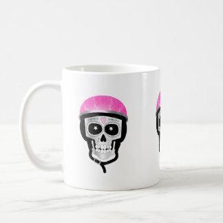 Taza De Café Cráneo del azúcar del motorista o del ciclista