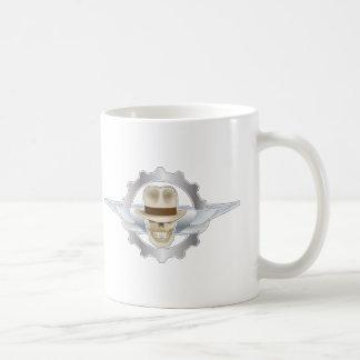 Taza De Café Cráneo Dieselpunk de Fedora del vuelo