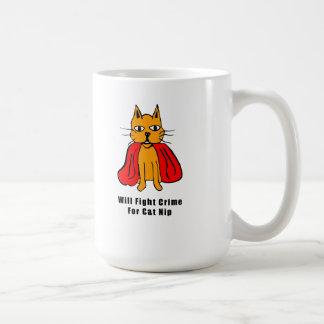 Taza De Café Crimen estupendo de la pelea de gatos para el