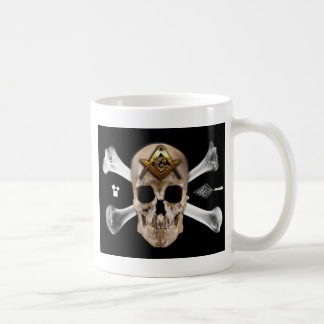 Taza De Café Cuadrado masónico del cráneo y del compás de los