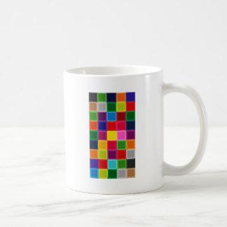 Taza De Café Cuadrados multi y rayas coloreados femeninos