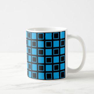 Taza De Café Cuadrados negros y azules
