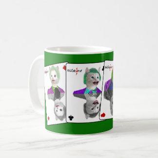 Taza De Café Cuatro naipes de los gatos del payaso del comodín