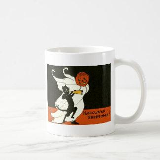 Taza De Café Cuerno del fantasma del gato negro de la linterna