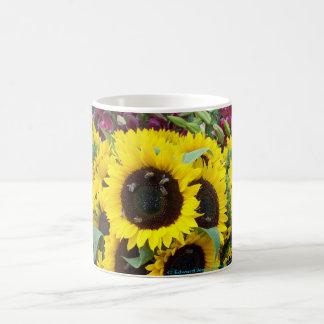 Taza De Café Danza de la abeja en un día del girasol
