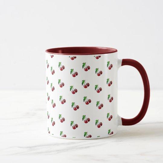 Taza de café de Borgoña de la taza de las cerezas