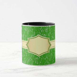 taza de café de encargo verde del nombre/del texto