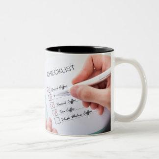 Taza de café de hoy de la lista de control