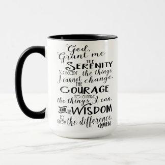 Taza de café de la fe del rezo de la serenidad