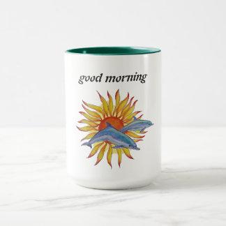 taza de café de la salida del sol del delfín
