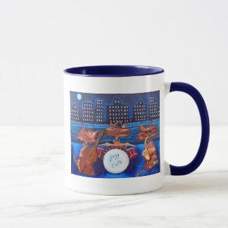 Taza de café de los gatos del jazz