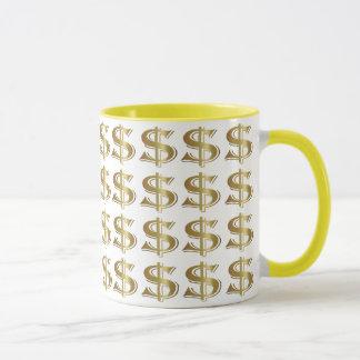Taza de café de oro de la muestra de dólar