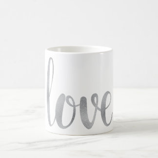 Taza de café de plata del amor, hoja