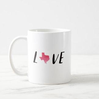 Taza de café de Tejas del amor con el estado