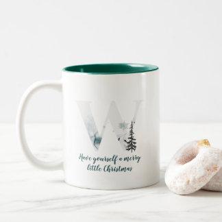 Taza de café del alfabeto de la letra W del