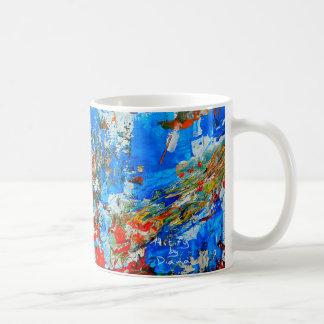 Taza de café del arte abstracto, colorido y de