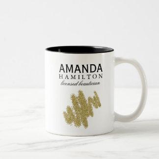 Taza de café del Beautician del brillo del oro