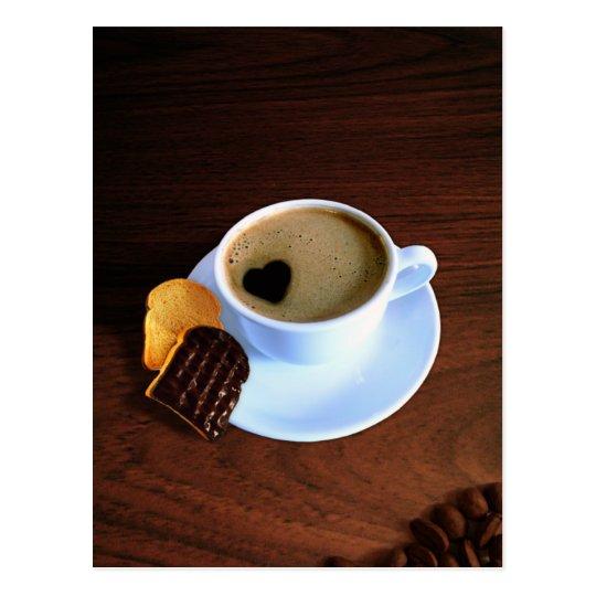 Taza de café del corazón - postal
