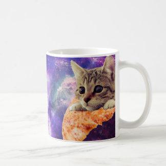 Taza de café del gato de la pizza del espacio
