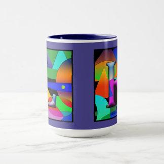 Taza de café del monograma de L y de K en alfabeto