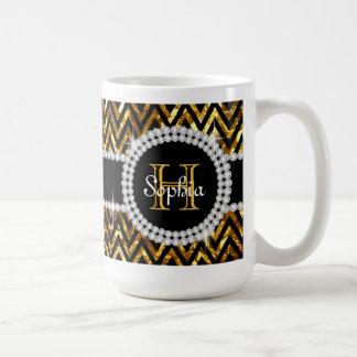 Taza de café del monograma de los galones del