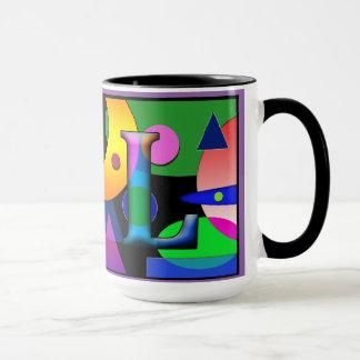 """Taza de café del monograma del """"AL"""" 15 onzas"""