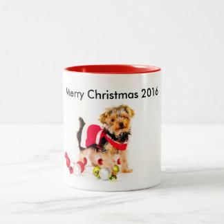 Taza de café del navidad de Yorkie