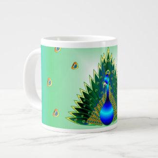 Taza de café del pavo real