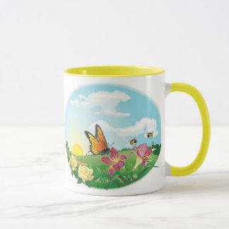 Taza de café del prado de la mariposa del KRW