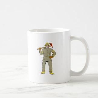 Taza De Café Dibujo americano del hacha del fuego del bombero