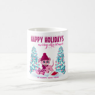 Taza De Café Dibujo animado adorable del perrito del navidad