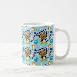 Taza De Café Dibujo animado azul colorido de los terrieres de