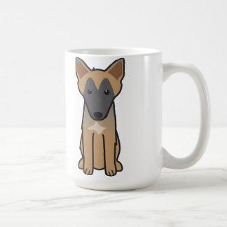 Taza De Café Dibujo animado del perro de Malinois del belga