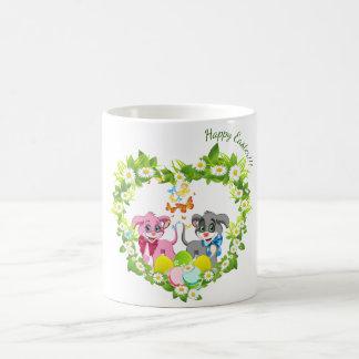 Taza De Café Dibujo animado feliz de los perritos de la nariz