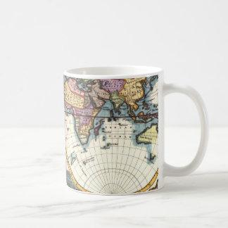 Taza De Café Dibujo viejo del ejemplo del mapa del mundo de la
